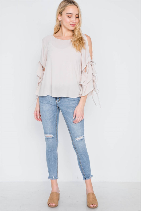 Oatmeal Self-tie Long Bell Sleeves Top demochatbot