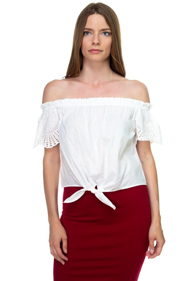 Off Shoulder Cutout Sleeve Top demochatbot Ivory S