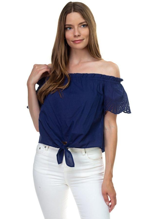 Off Shoulder Cutout Sleeve Top demochatbot Navy S