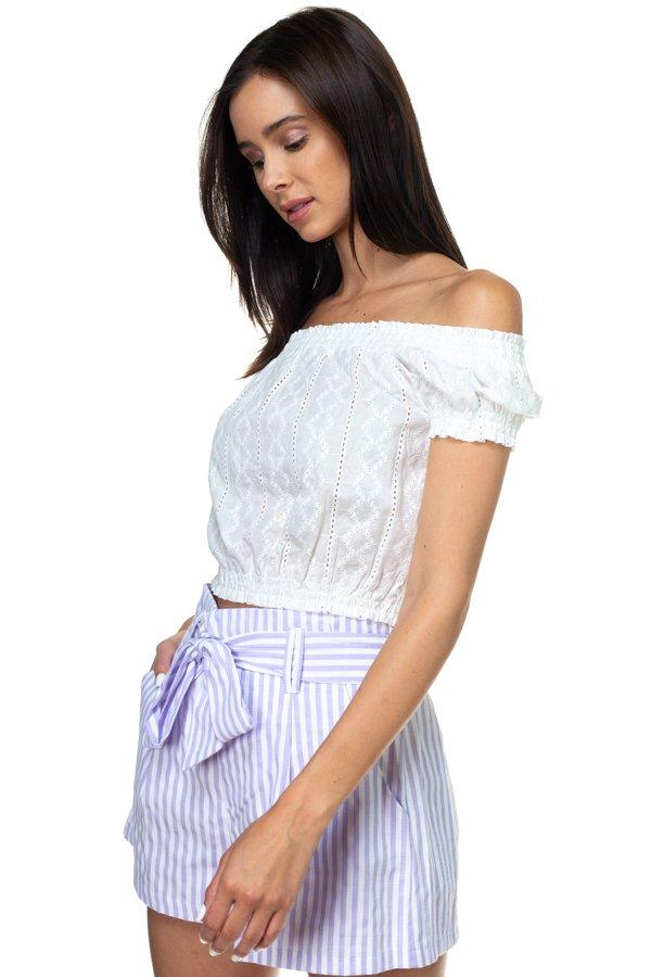 Off Shoulder Embroidered Crop Top demochatbot