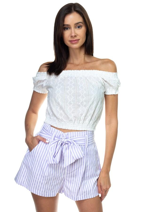 Off Shoulder Embroidered Crop Top demochatbot White S