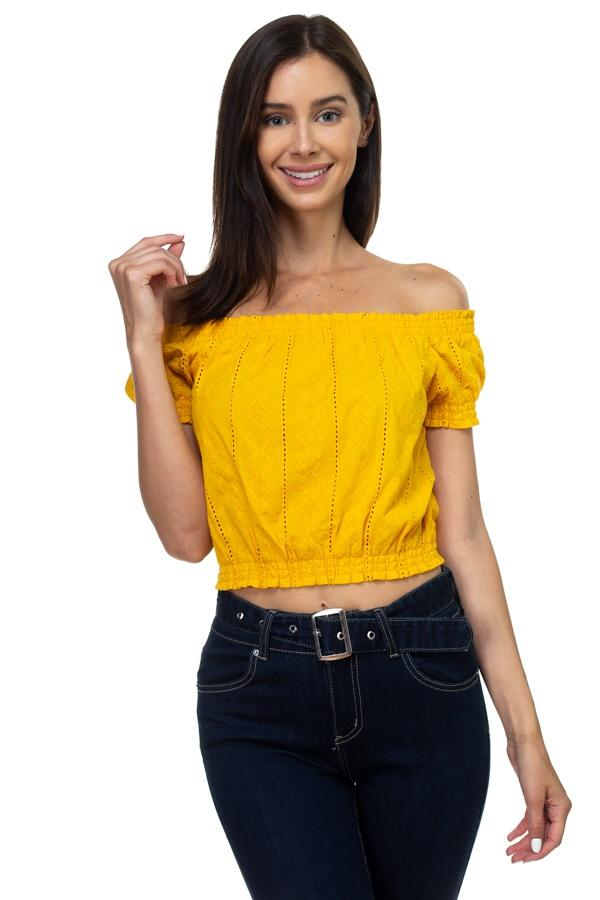 Off Shoulder Embroidered Crop Top demochatbot Yellow S