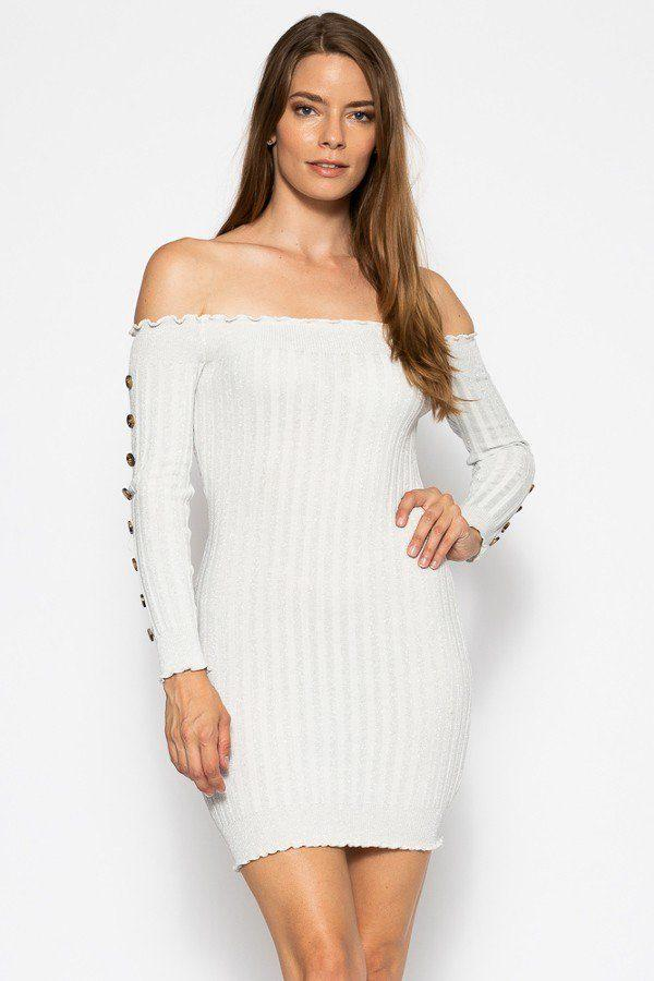 Off The Shoulder Knit Sweater Dres - Pinky Petals