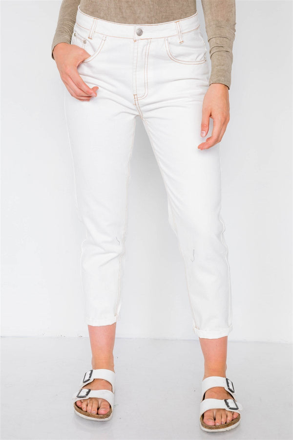 Off White With Brown Stitching Jeans - Pinky Petals