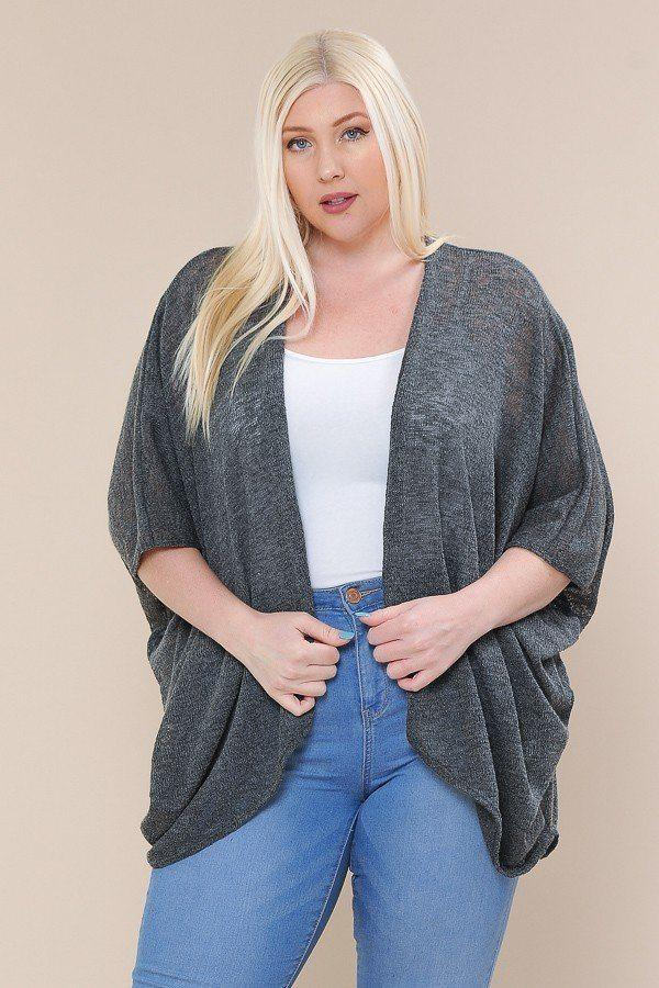 Open Front Cardigan Back V-neck Kimono Sleeves demochatbot Charcoal 1XL