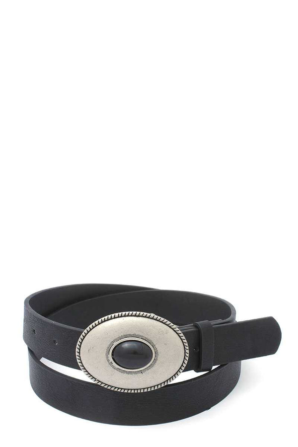 Oval Shape Metal Buckle Pu Leather Belt demochatbot