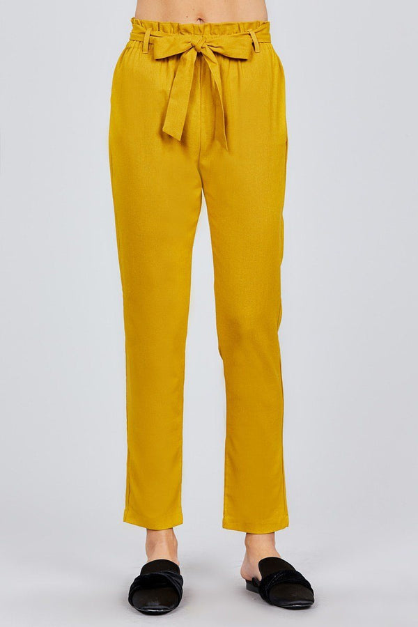 Paper Bag W/bow Tie Long Linen Pants demochatbot Mustard Seed S