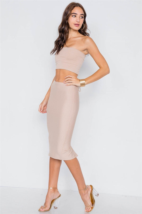 Pinstripe Lace-up Crop Top & Midi Skirt Set demochatbot