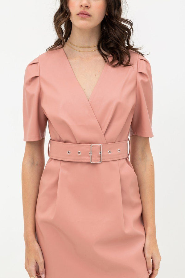 Pleather Dress With Belt Buckle Across Waist. Short Sleeve With V Neckline - Pinky Petals