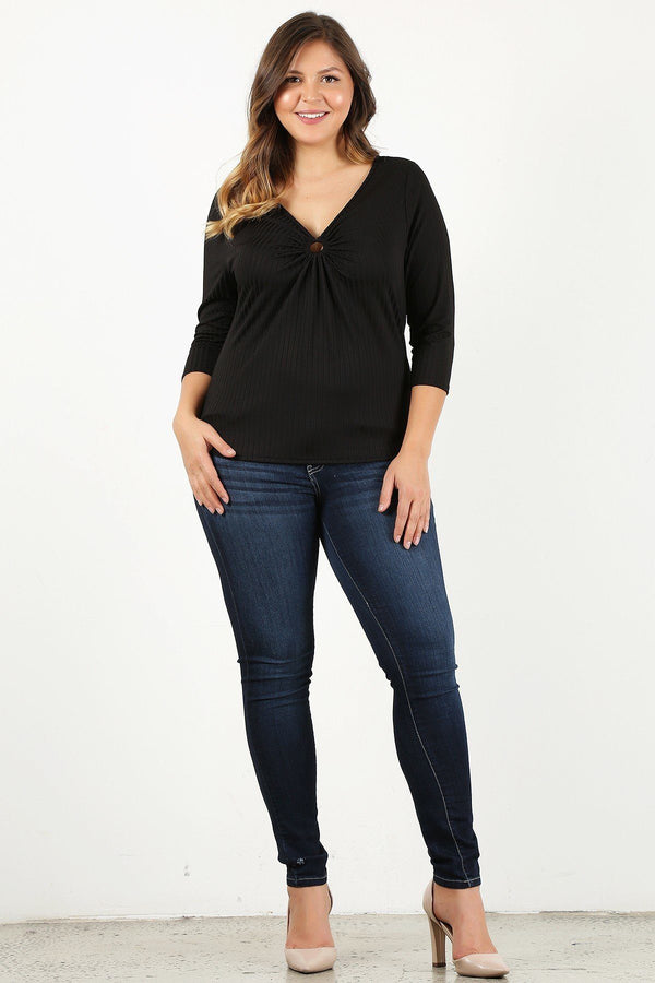 Plus Size 3/4 Sleeve V-neck With Gathered O-ring Detail At Bust demochatbot