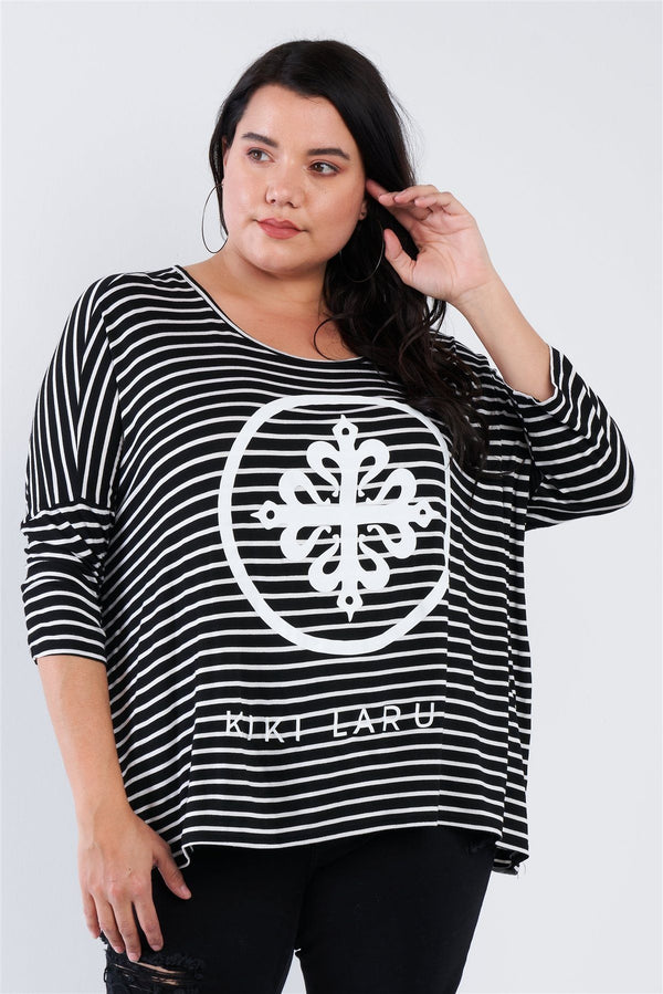 "Plus Size Black White Stripe Scoop Neck Relaxed Fit ""kiki Larue"" Top demochatbot"