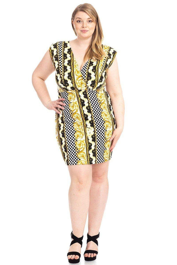 Plus Size Boarder Print V-neck Bodycon Dress demochatbot