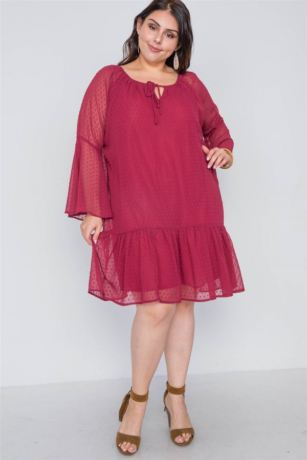 Plus Size Burgundy Bell Sleeves Shirred Dress demochatbot