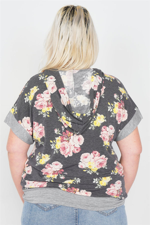 Plus Size Charcoal Mix Floral Print Pull Over Hoodie Sweater demochatbot