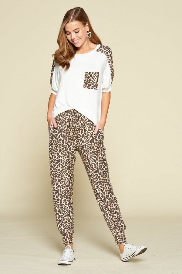 Plus Size Cute Animal Print Pocket French Terry Casual Top demochatbot