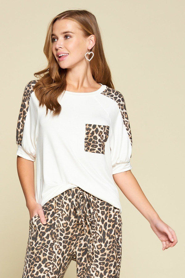 Plus Size Cute Animal Print Pocket French Terry Casual Top demochatbot Ivory 1XL