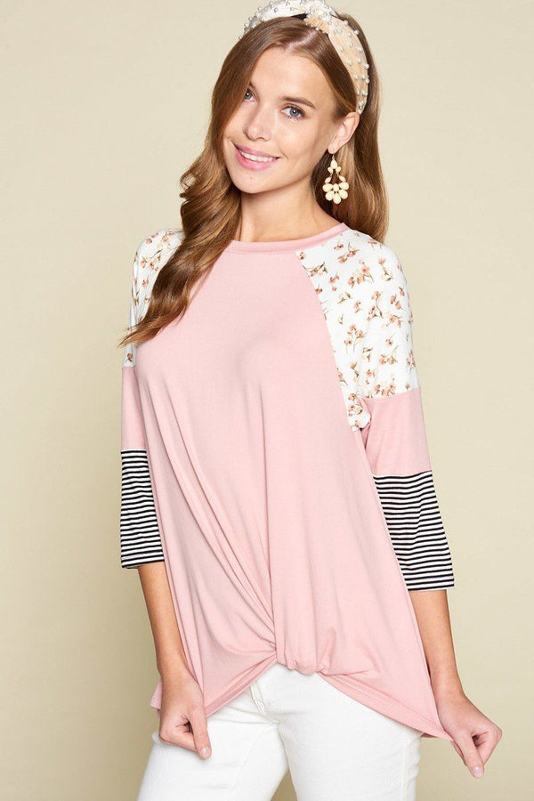 Plus Size Floral And Striped Color Block Sleeves Tunic Top With Side Twist demochatbot Pink 1XL