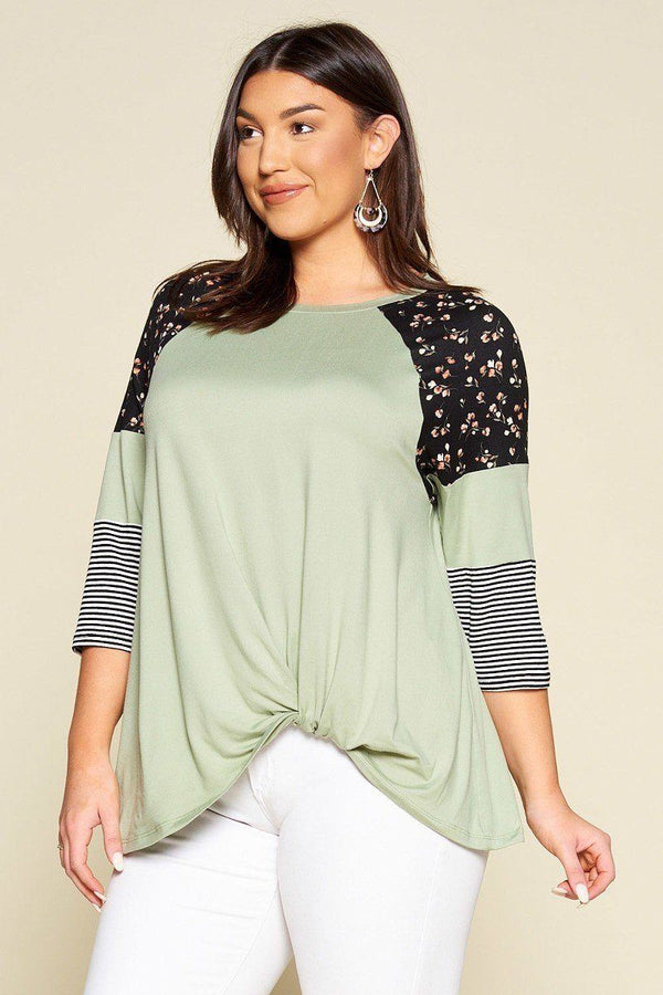 Plus Size Floral And Striped Color Block Sleeves Tunic Top With Side Twist demochatbot Sage 1XL