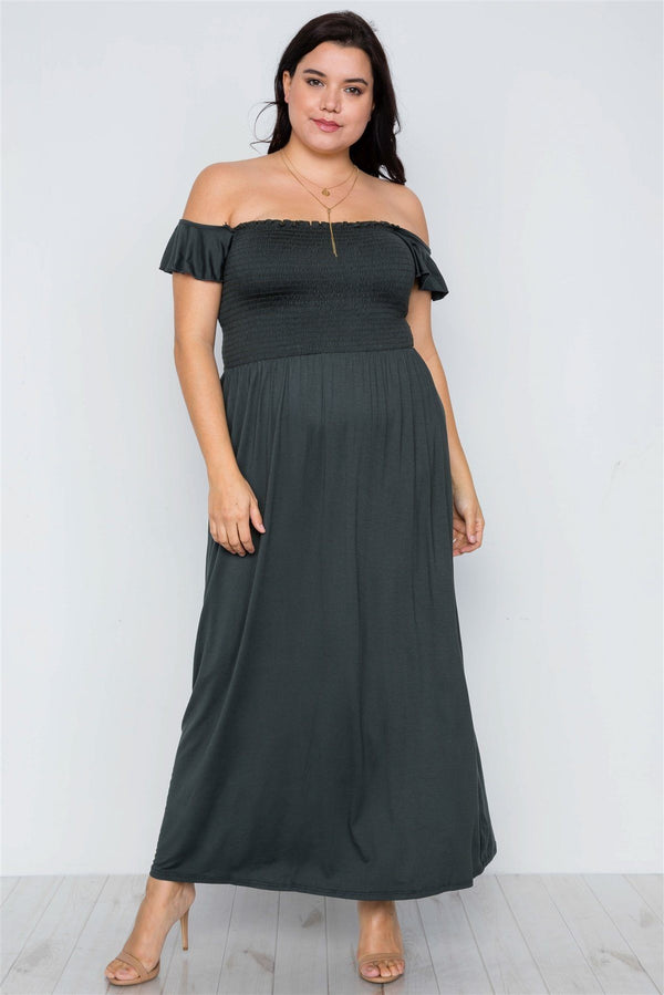 Plus Size Hunter Green Smoked Solid Maxi Dress demochatbot