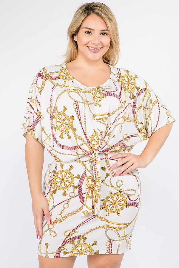 Plus Size Multi Color Print Short Sleeve Dress demochatbot Ivory/Yellow/Red 1XL