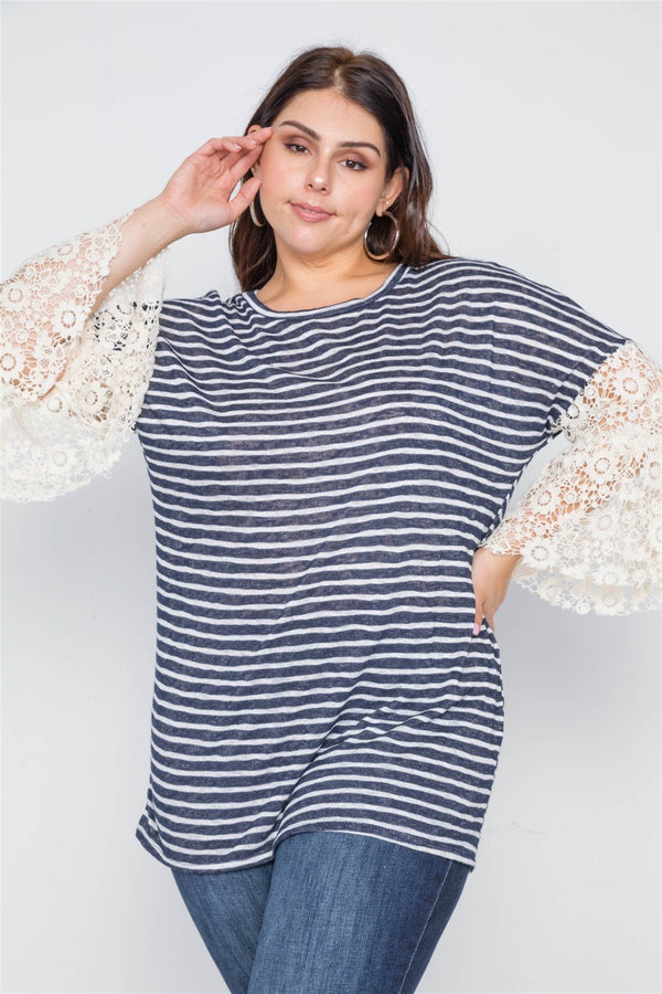 Plus Size Navy Taupe Stripe Lace Sleeves Knit Top demochatbot