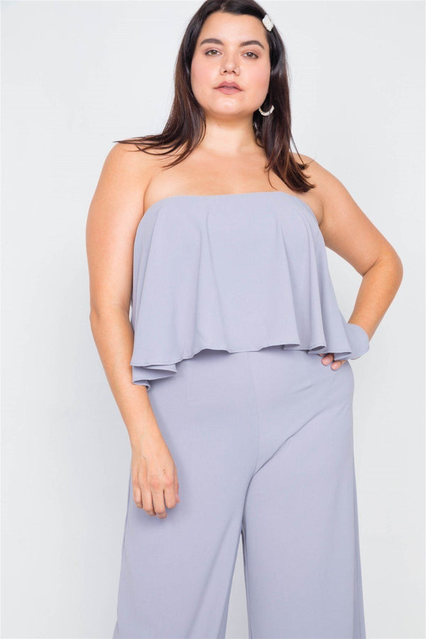 Plus Size Off-the-shoulder Flounce Wide Leg Jumpsuit demochatbot