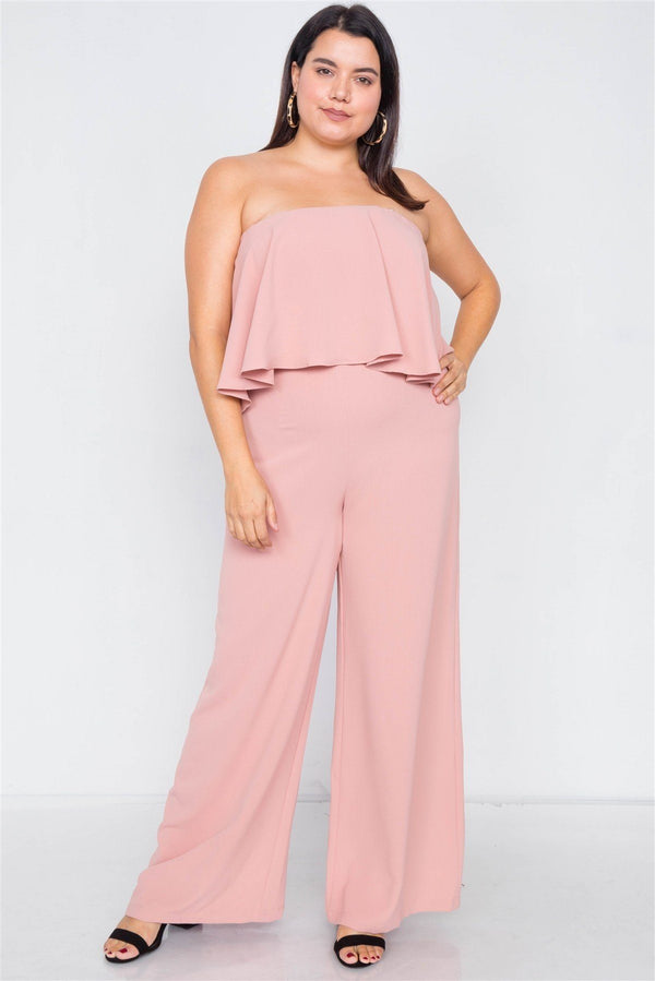 Plus Size Off-the-shoulder Flounce Wide Leg Jumpsuit demochatbot Blush 1XL