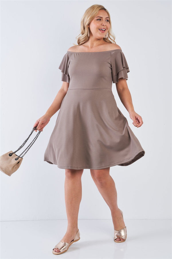 Plus Size Off The Shoulder Tiered Sleeves Midi Dress demochatbot