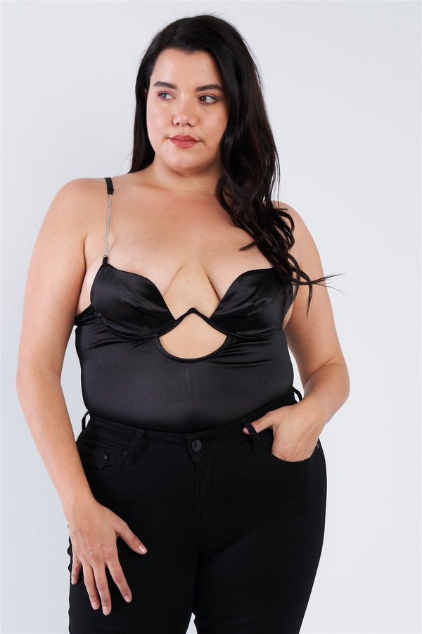 Plus Size Silk Chain Spaghetti Strap High Thong Center Cut Out Bodysuit demochatbot Black 1XL