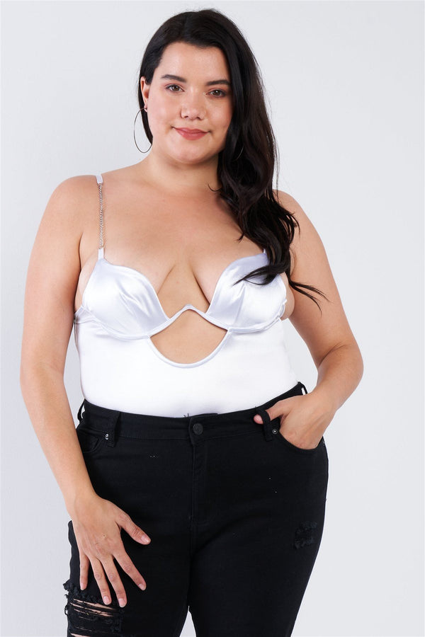 Plus Size Silk Chain Spaghetti Strap High Thong Center Cut Out Bodysuit demochatbot White 1XL