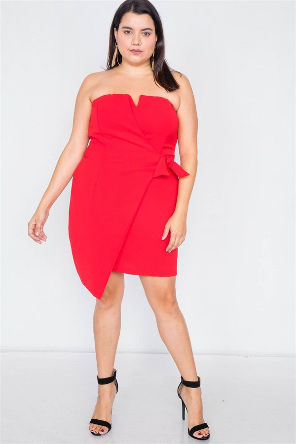 Plus Size Sleeveless Mock Wrap Mini Chic Dress demochatbot