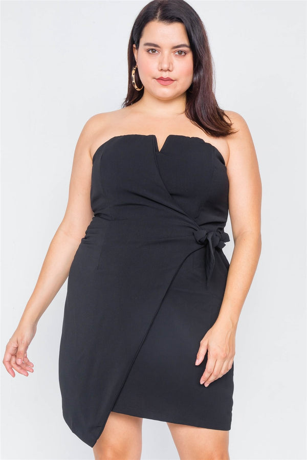 Plus Size Sleeveless Mock Wrap Mini Chic Dress demochatbot Black 1XL