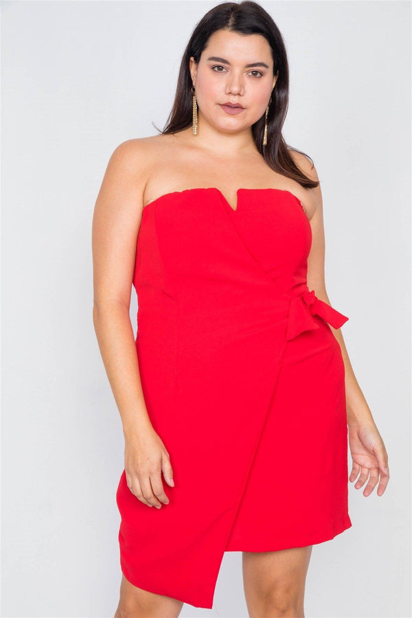 Plus Size Sleeveless Mock Wrap Mini Chic Dress demochatbot Red 1XL