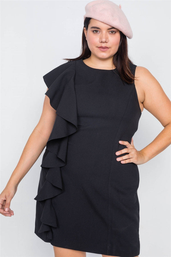 Plus Size Trim Frill Sleeve Mini Dress demochatbot