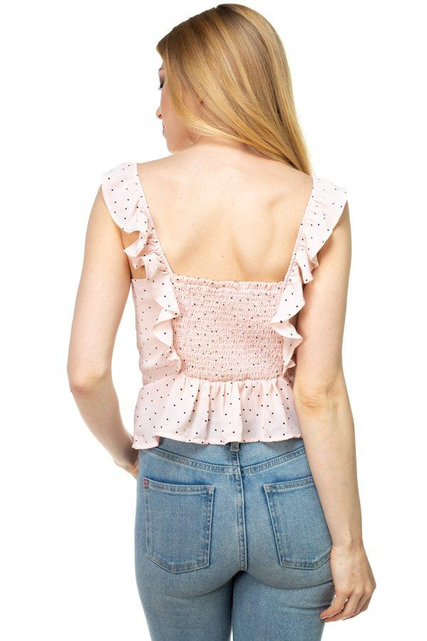 Polka Dot Smocked Ruffle Crop Top demochatbot