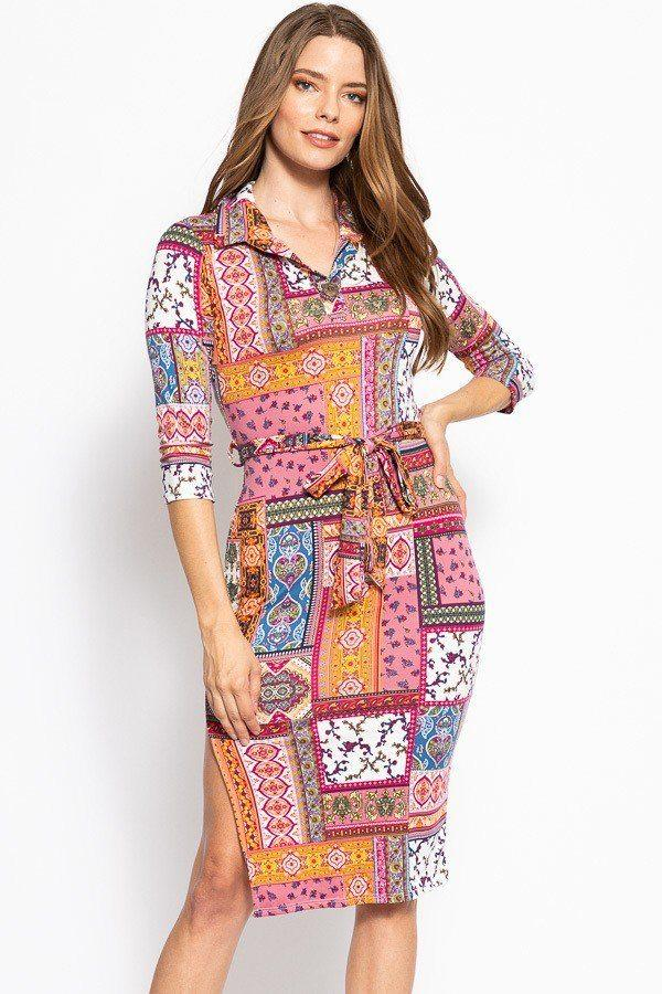 Print, Midi Tee Dress With 3/4 Sleeves, Collared V Neckline, Decorative Button, Matching Belt And A Side Slit - Pinky Petals
