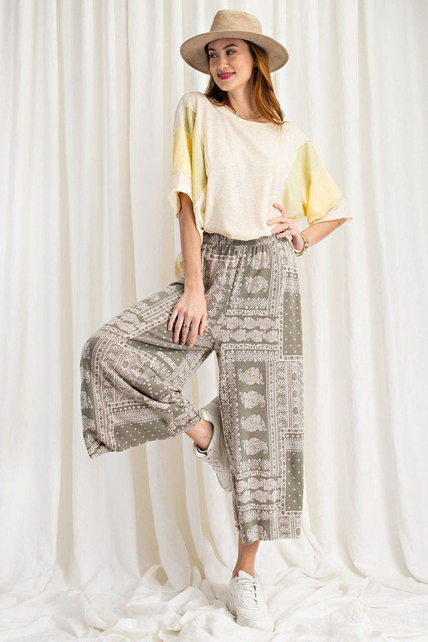 Printed Terry Knit Wide Leg Comfy Pants Pinky Petals