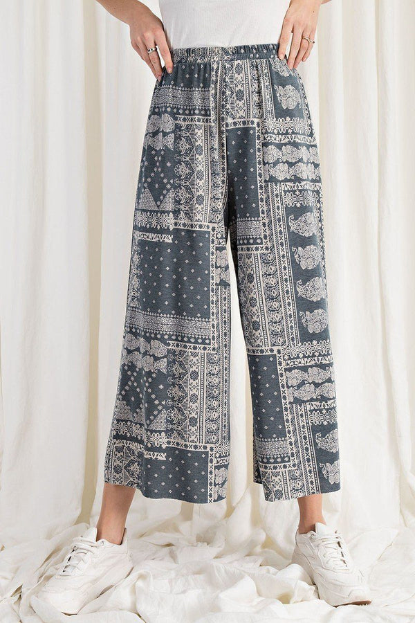 Printed Terry Knit Wide Leg Comfy Pants Pinky Petals Faded Denim S