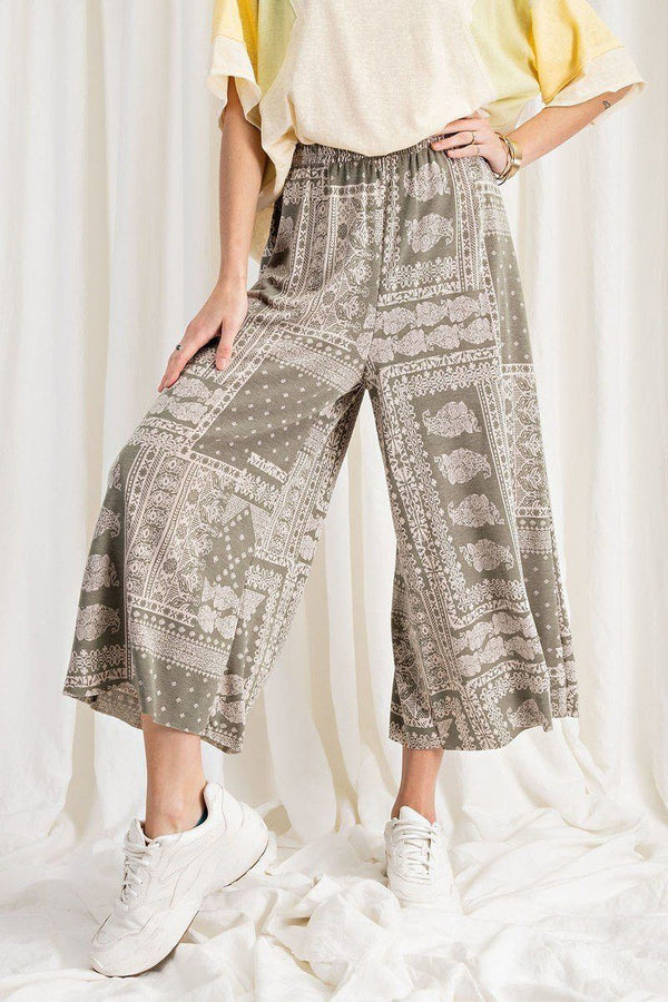 Printed Terry Knit Wide Leg Comfy Pants Pinky Petals Faded Sage S