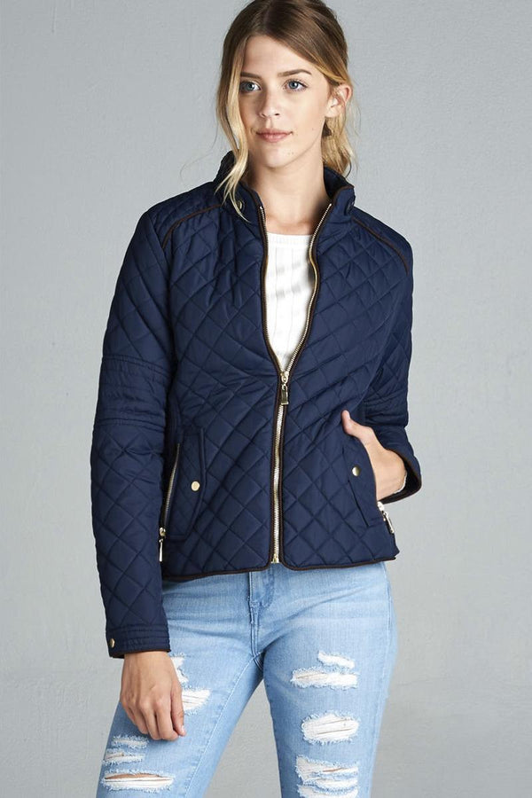 Quilted Padding Jacket With Suede Piping Details demochatbot