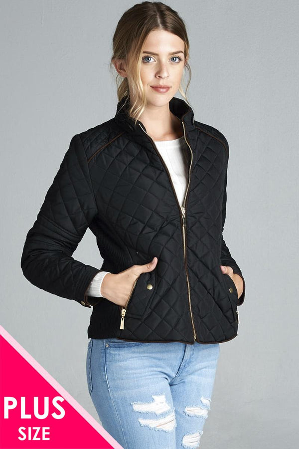 Quilted Padding Jacket With Suede Piping Details demochatbot Black XL