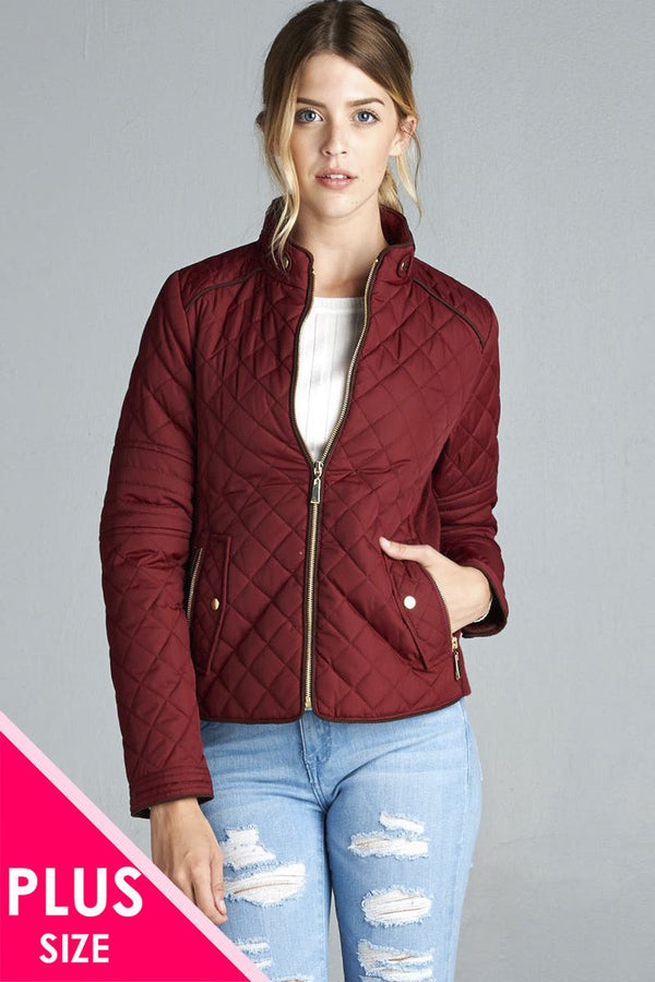 Quilted Padding Jacket With Suede Piping Details demochatbot Burgundy XL