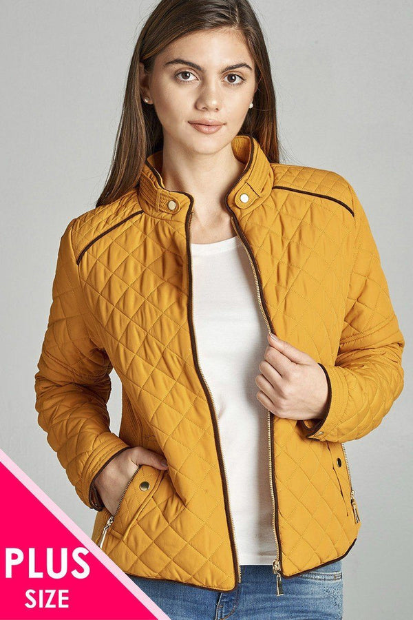 Quilted Padding Jacket With Suede Piping Details demochatbot Dark Mustard XL