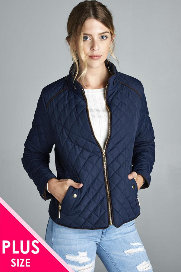 Quilted Padding Jacket With Suede Piping Details demochatbot Dark Navy XL