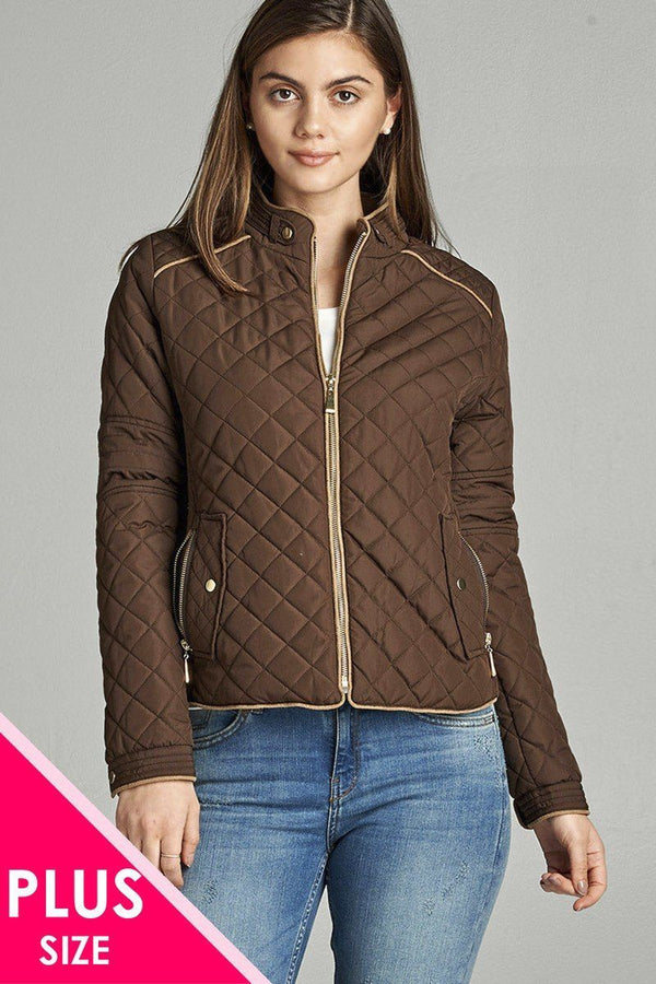 Quilted Padding Jacket With Suede Piping Details demochatbot New Brown XL
