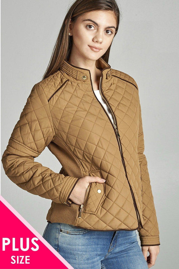 Quilted Padding Jacket With Suede Piping Details demochatbot New Camel XL