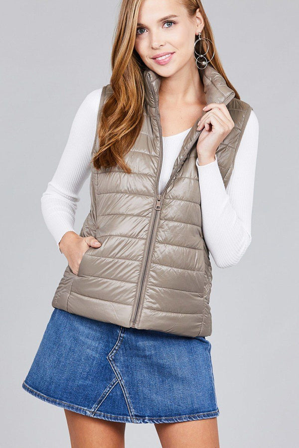 Quilted padding vest demochatbot Dark Khaki S