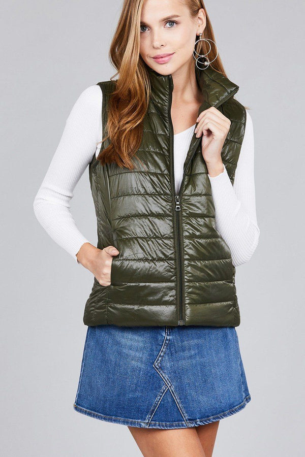 Quilted padding vest demochatbot Olive S