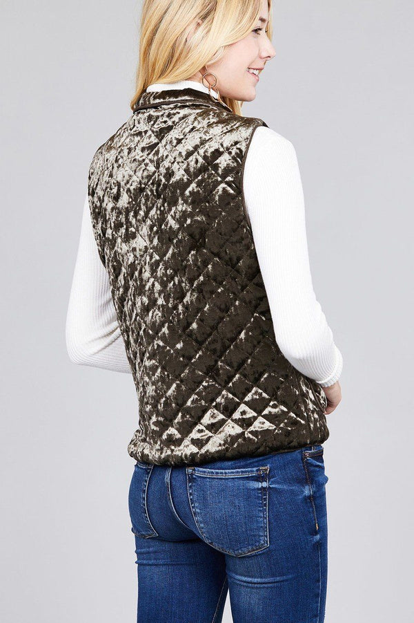 Quilted Padding W/suede Piping Detail Velvet Vest demochatbot