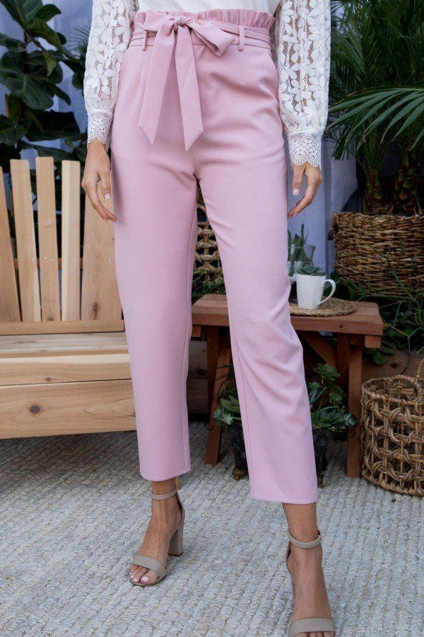 Ruffle High Waist Belt Side Pocket Front Zipper Solid Pants - Pinky Petals